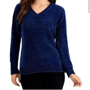 Karen Scott blue chenille sweater NWT